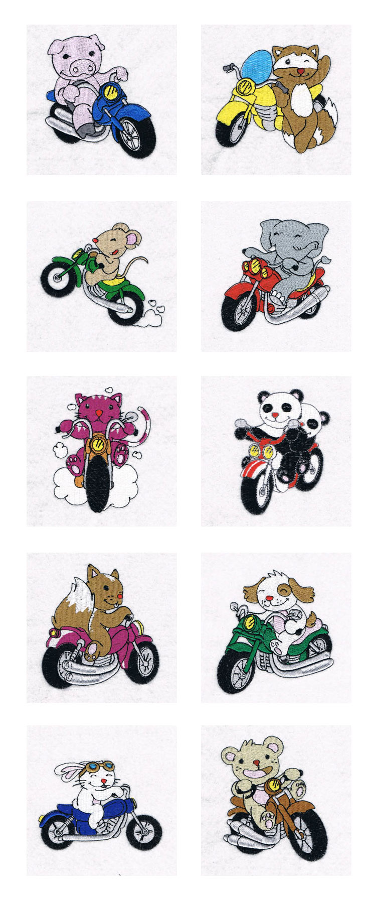Animal Bikers 2 Embroidery Machine Design Details