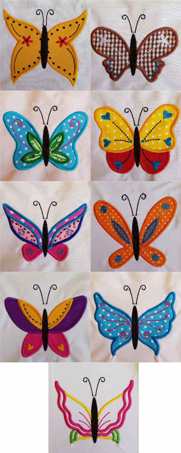 Applique Fairy Wing Butterflies Embroidery Machine Design Details
