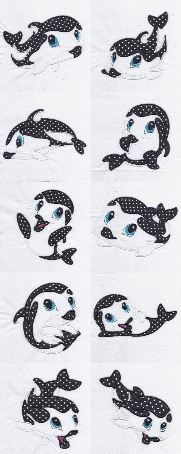 Applique Baby Dusky Dolphins Embroidery Machine Design Details