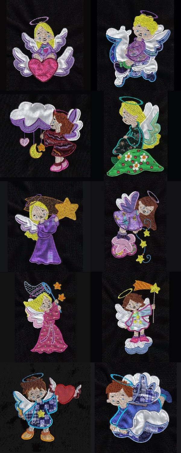 Applique Baby Angels Embroidery Machine Design Details