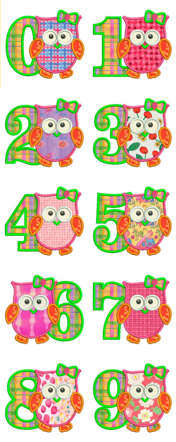 Applique Owl Girls Numbers Embroidery Machine Design Details
