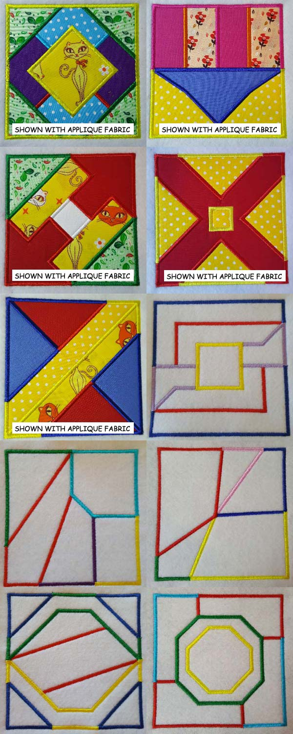 Geometric Applique Quilt Blocks Embroidery Machine Design Details