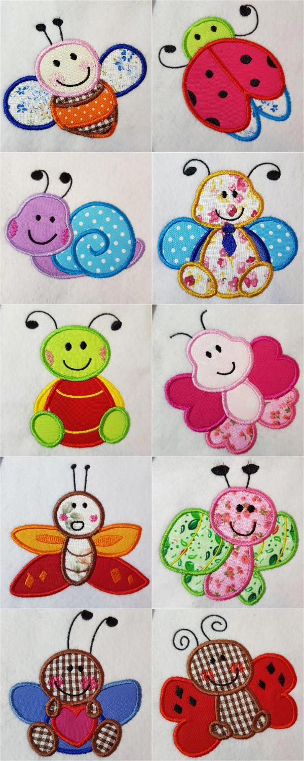 Applique Quilting Bugs Embroidery Machine Design Details