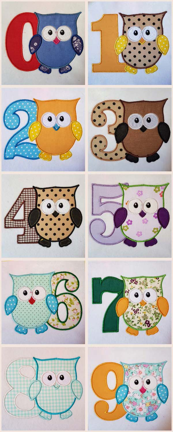 Applique Owl Boy Numbers Embroidery Machine Design Details