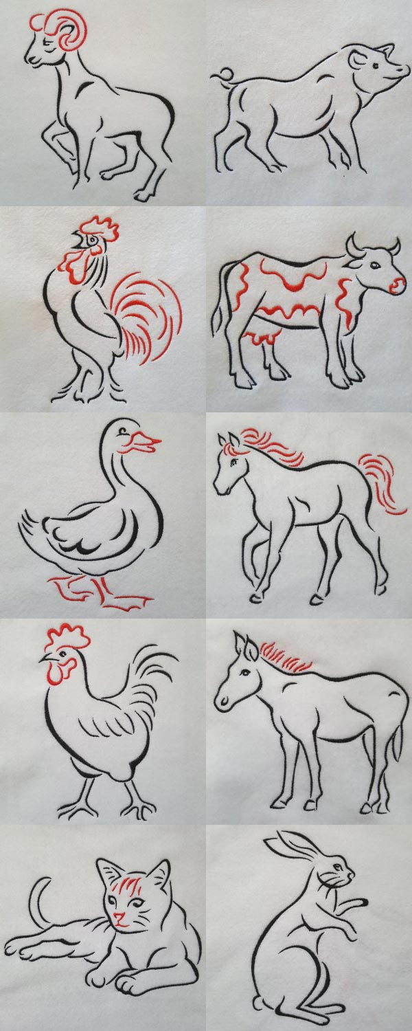 Artistic Animals Embroidery Machine Design Details