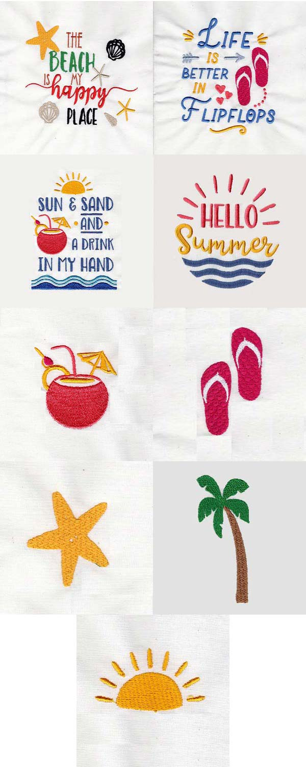 At The Beach Embroidery Machine Design Details