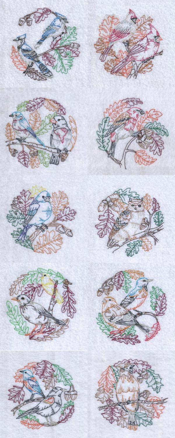 Autumn Birds and Leaves Embroidery Machine Design Details
