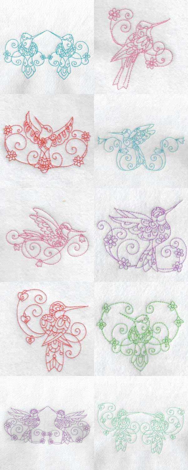 Beautiful Curly Hummingbirds Embroidery Machine Design Details