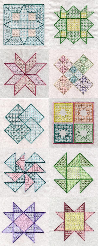 Machine Embroidery Designs - Black Work Quilt Squares Set