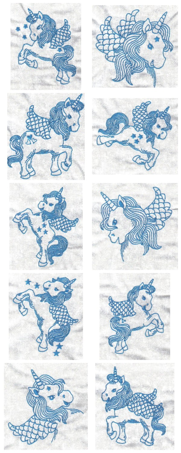 BW Unicorns Embroidery Machine Design Details