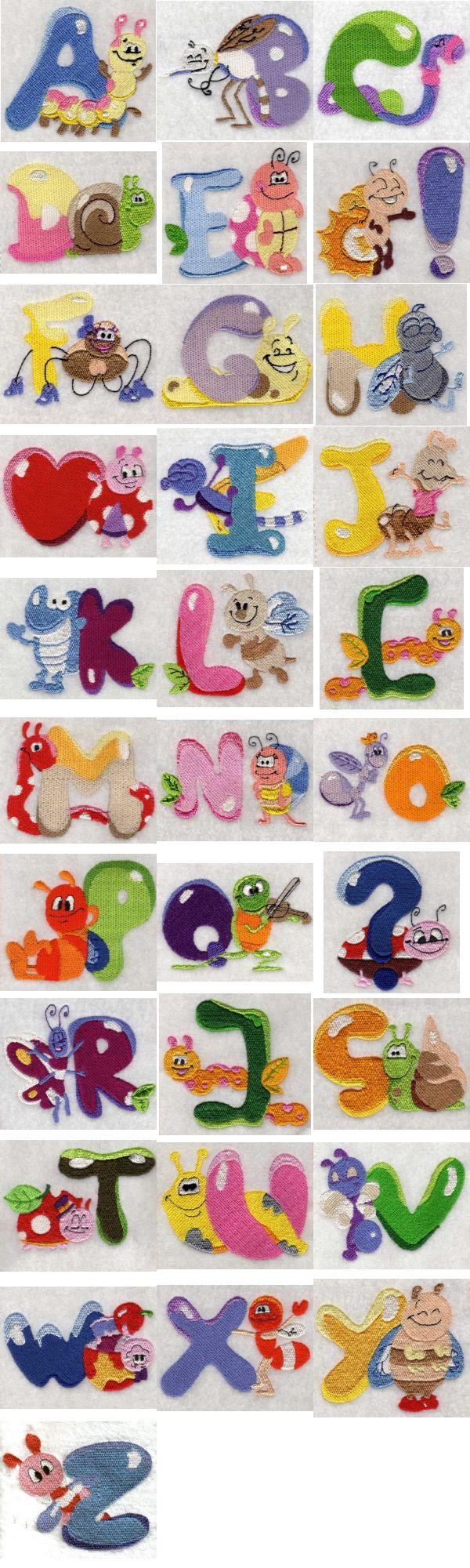 Machine embroidery designs bug alphabet set
