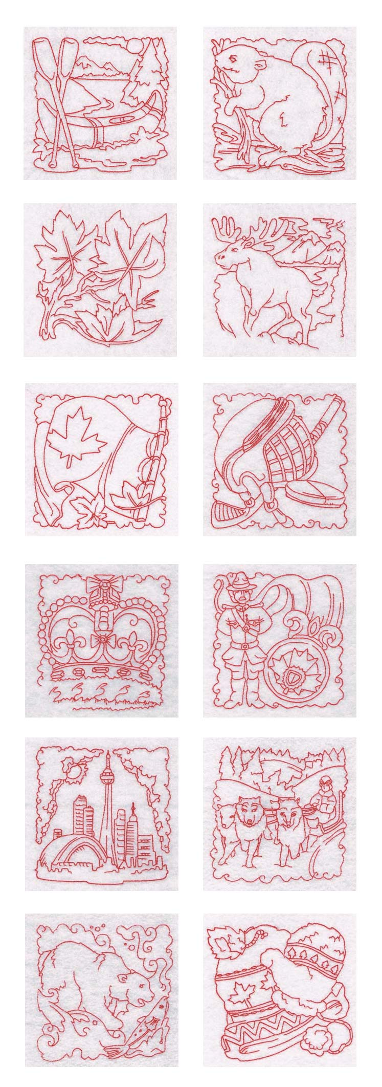 Machine embroidery designs canadian blocks set