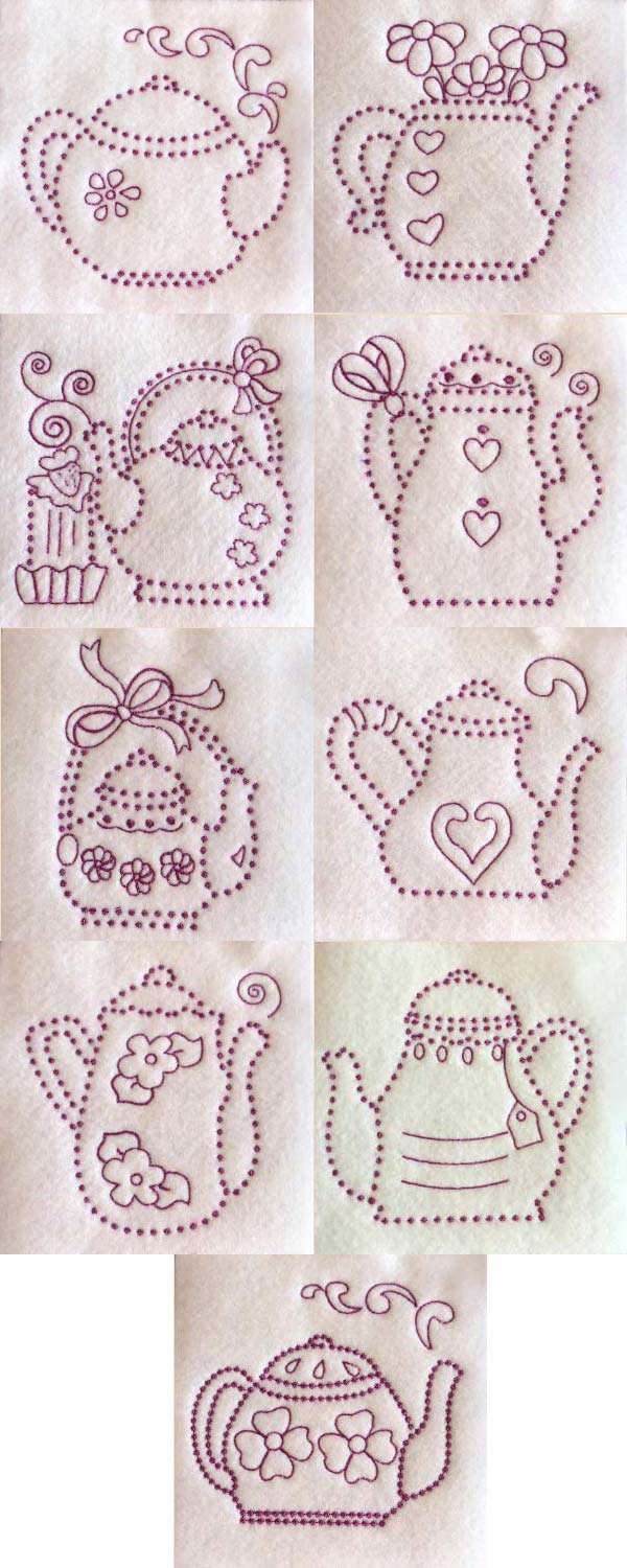 Candlewick Teapots Embroidery Machine Design Details