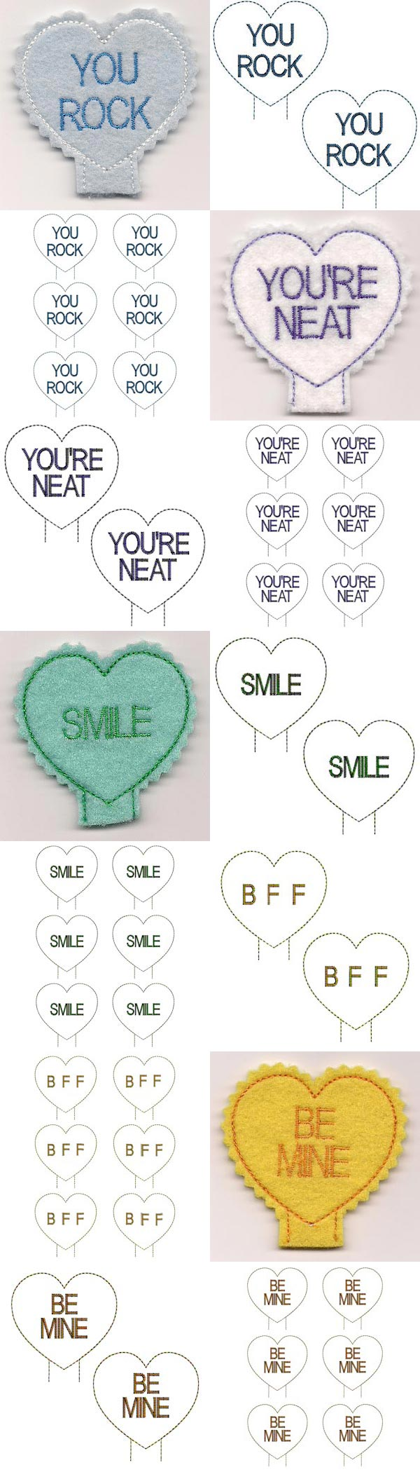 Candy Heart Pencil Toppers Embroidery Machine Design Details