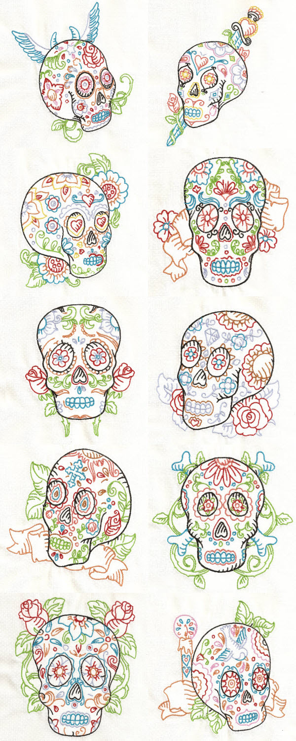 Candy Skulls Embroidery Machine Design Details