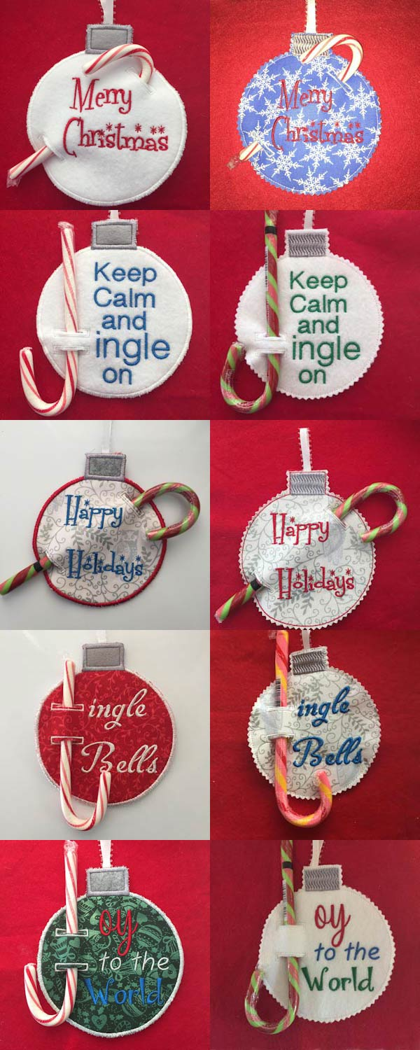 Candy Cane Ornaments 2 Embroidery Machine Design Details