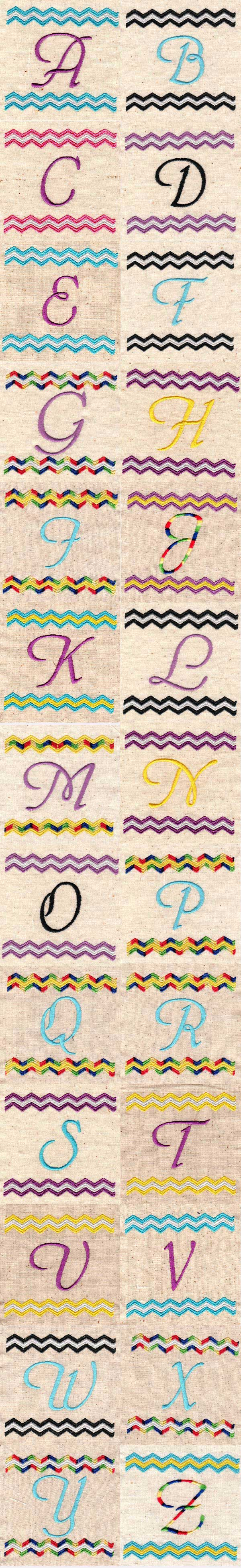 Chevron Monogram Embroidery Machine Design Details