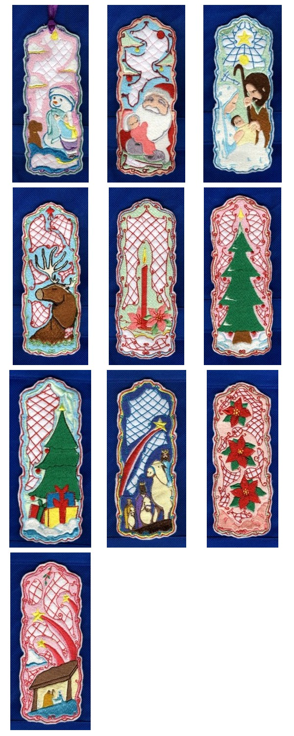 Christmas Bookmarkers Embroidery Machine Design Details