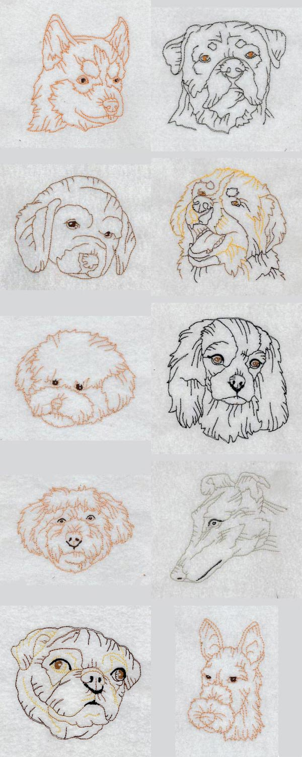 Colorline Doggies Embroidery Machine Design Details