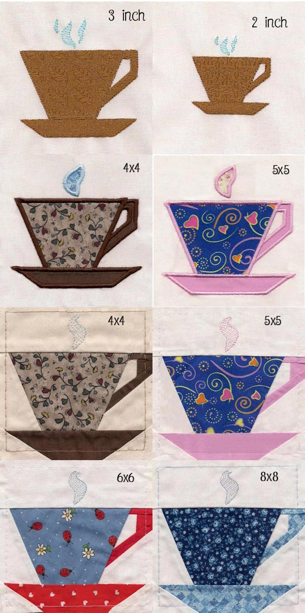 Coffee Cup Pieced Quilt Blocks Embroidery Machine Design Details