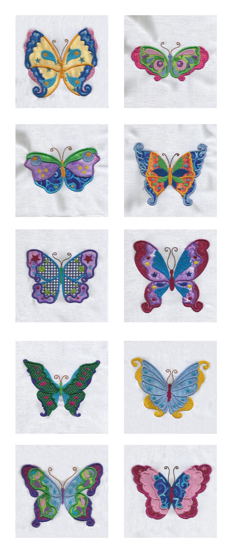 Colorful Applique Butterflies Embroidery Machine Design Details