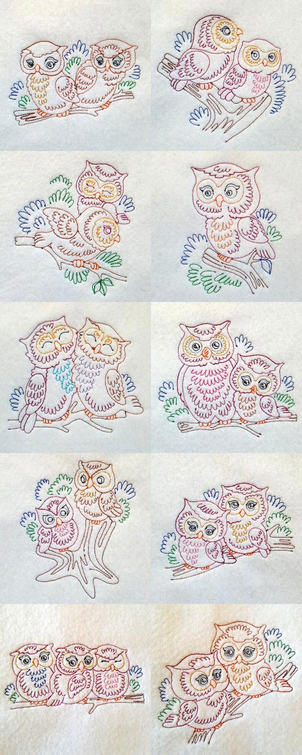 Colorline Owls Embroidery Machine Design Details