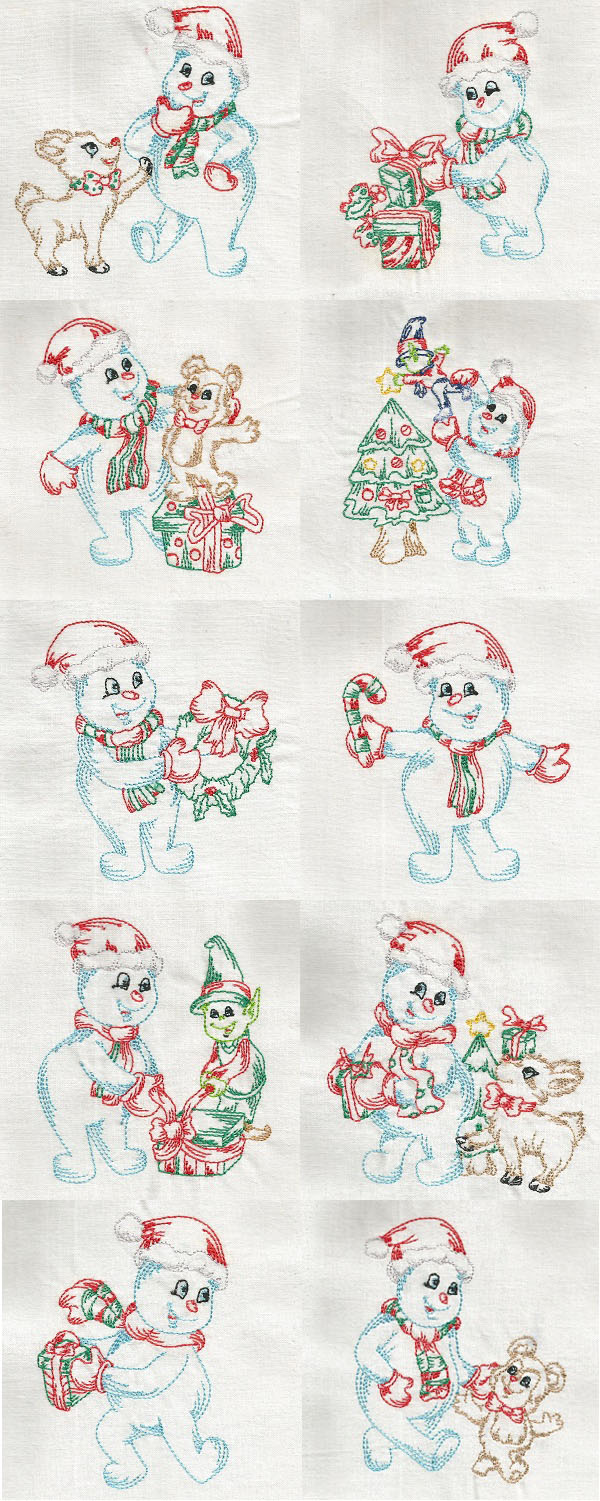 Colorlines Snowman Embroidery Machine Design Details