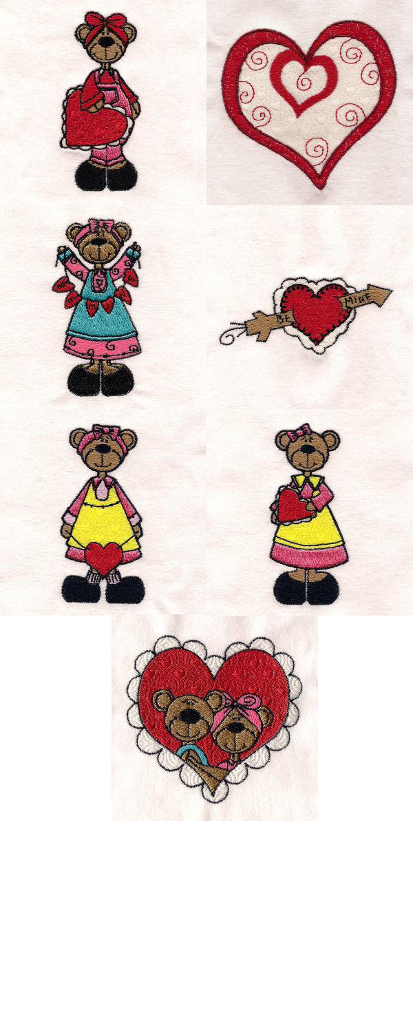 Country Valentine Bears Embroidery Machine Design Details