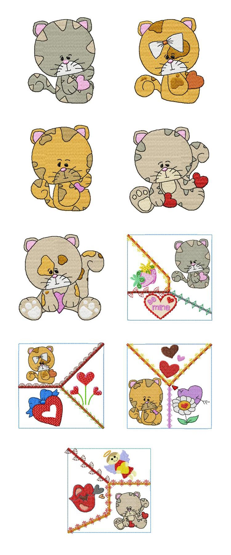 Crazy Love Valentine Kitties Embroidery Machine Design Details