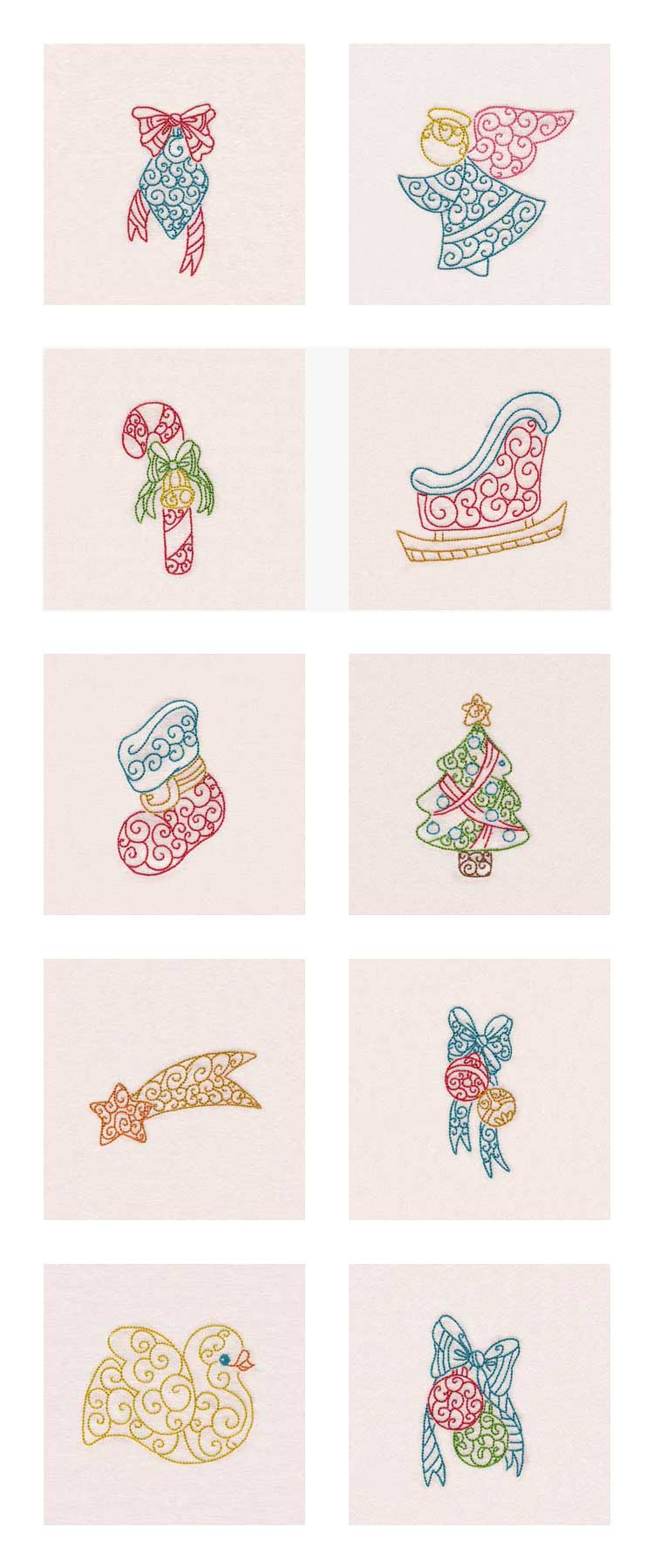 Curly Christmas Colorlines Embroidery Machine Design Details