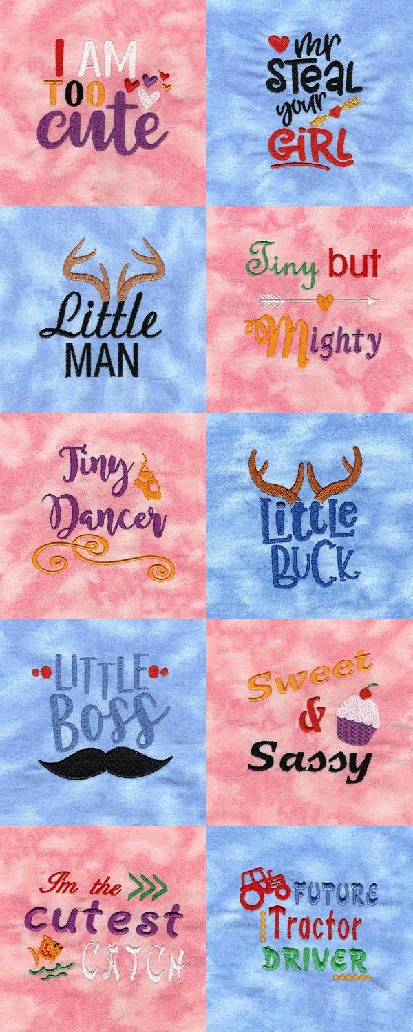 Cute Baby Sayings Embroidery Machine Design Details