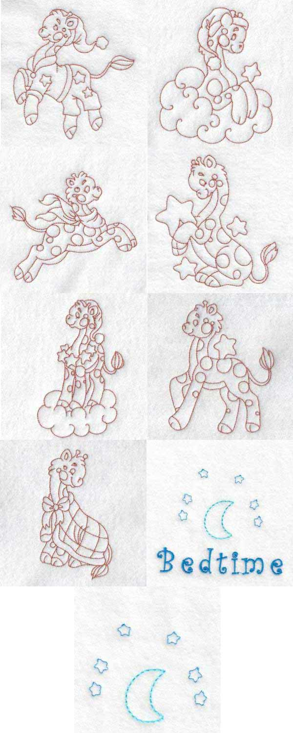Cute Giraffe Bedtime Embroidery Machine Design Details