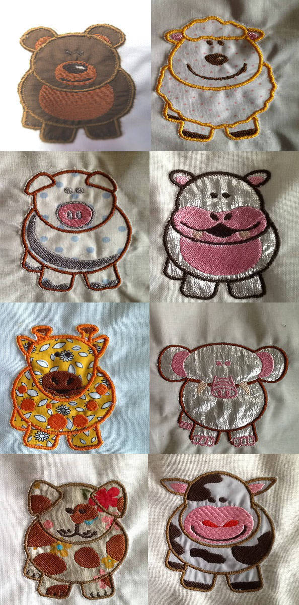 Cute Pudgy Animal Applique Embroidery Machine Design Details