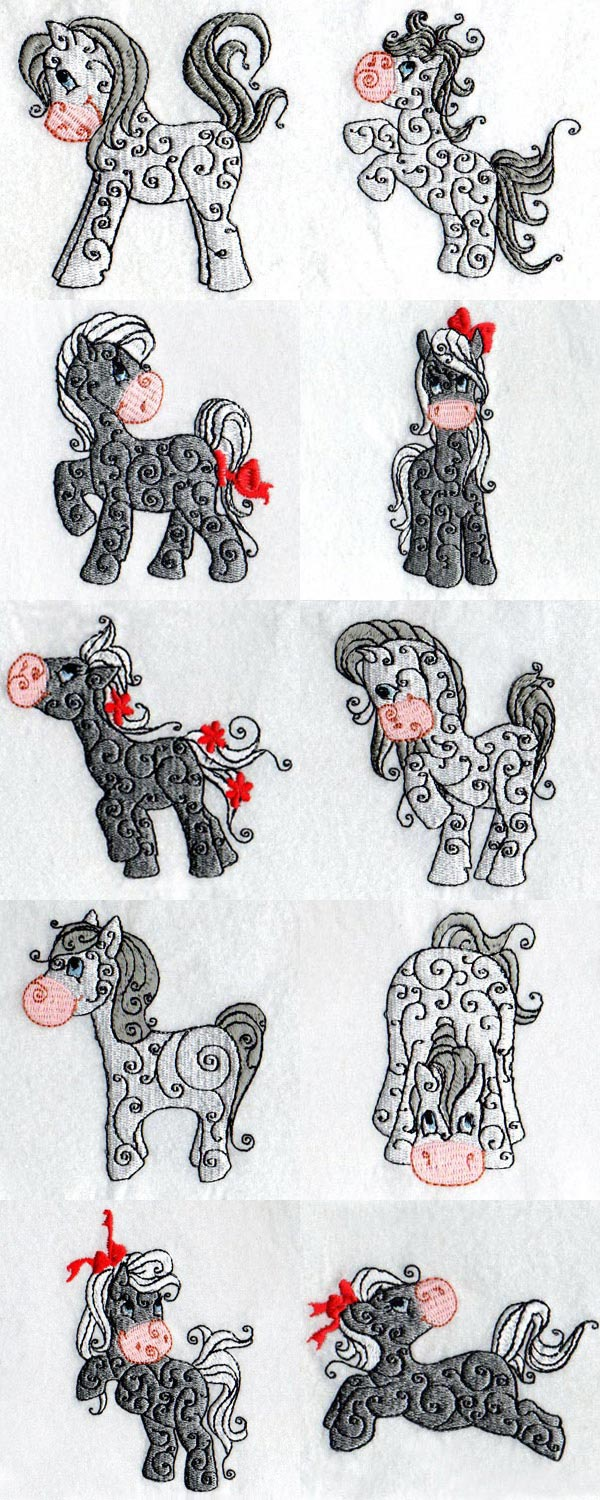 Cute Swirly Horses Embroidery Machine Design Details