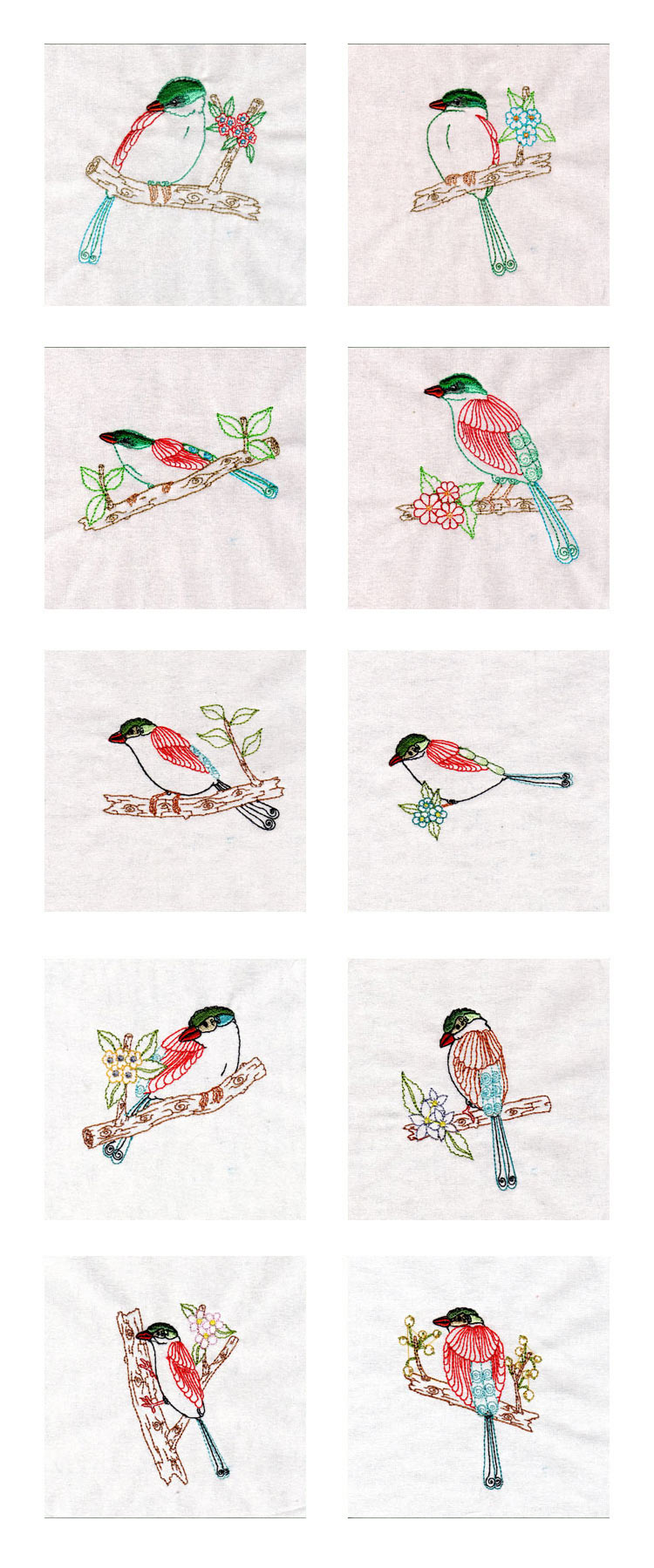 Colorwork Magpies Embroidery Machine Design Details