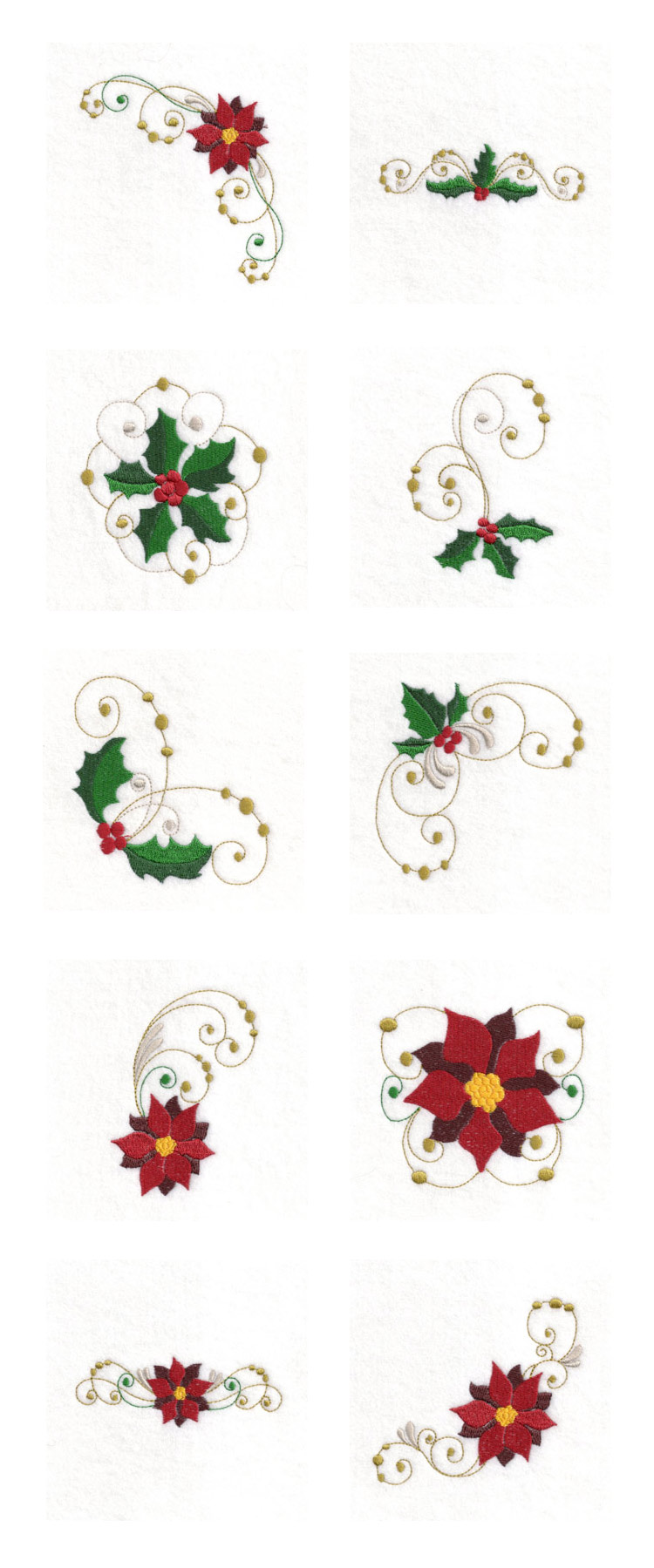 Deck the Holly Embroidery Machine Design Details