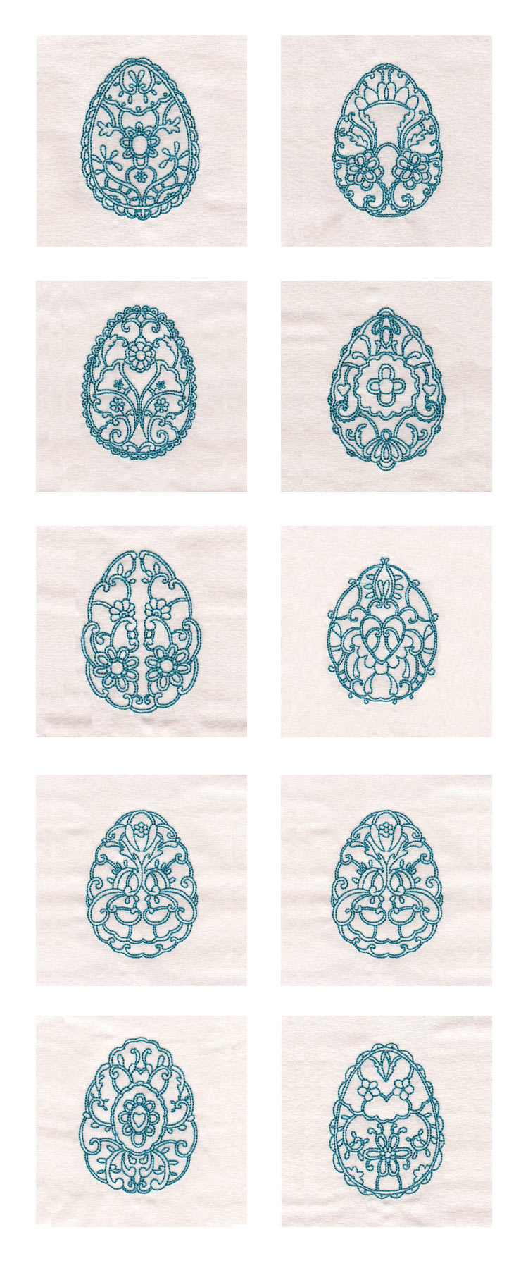 Decorative Redwork Easter Eggs Embroidery Machine Design Details