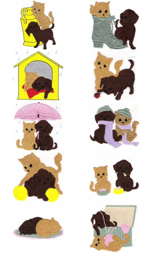 Dog and Kitty Embroidery Machine Design Details