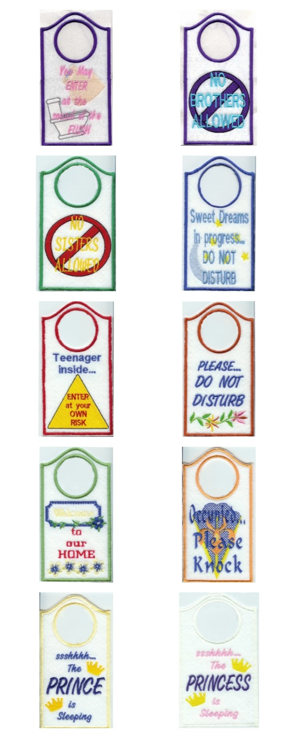 Machine embroidery designs door hangers set for Door design machine