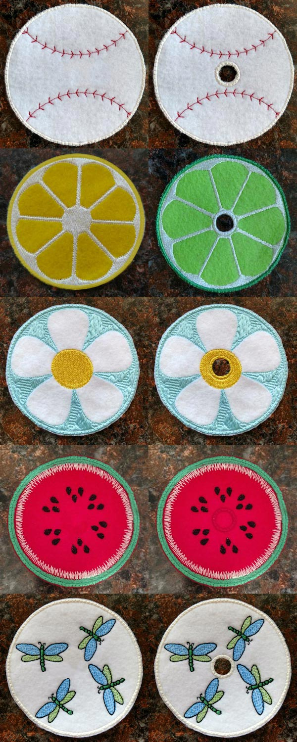 Drink Toppers and Coasters Embroidery Machine Design Details