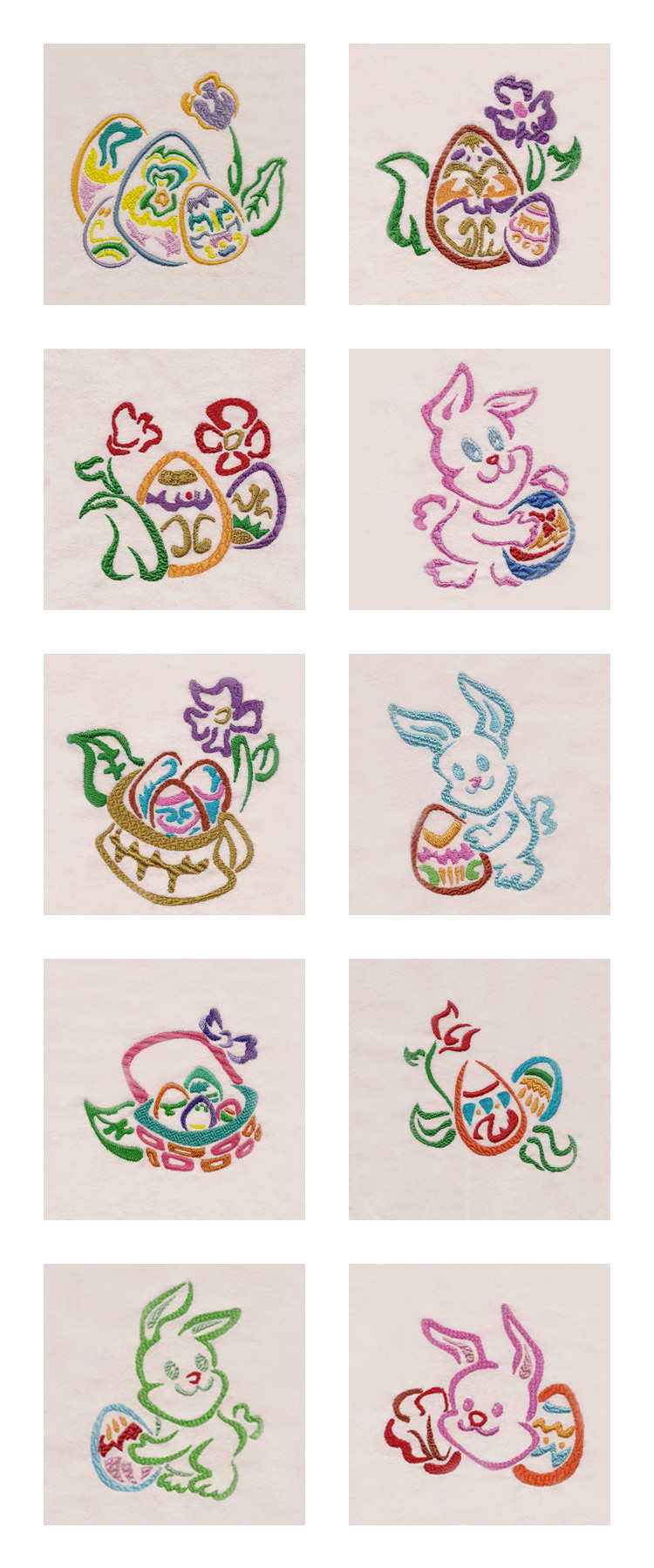 Machine embroidery designs easter colors set