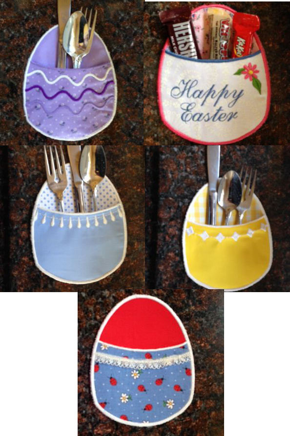 In The Hoop Easter Egg Pockets Embroidery Machine Design Details