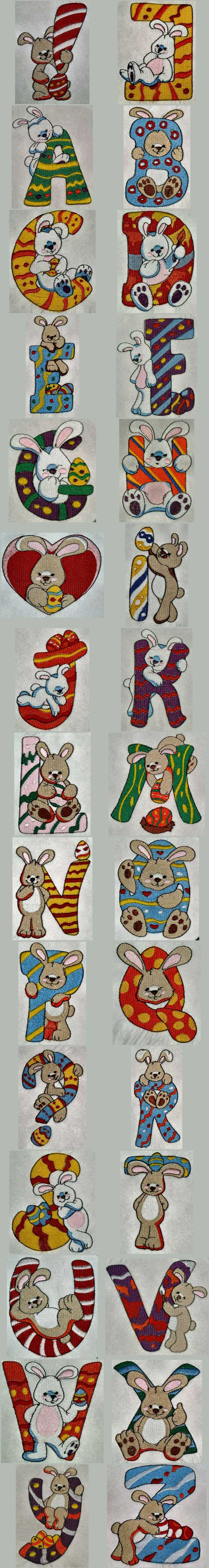 Easter Time Alphabet Embroidery Machine Design Details