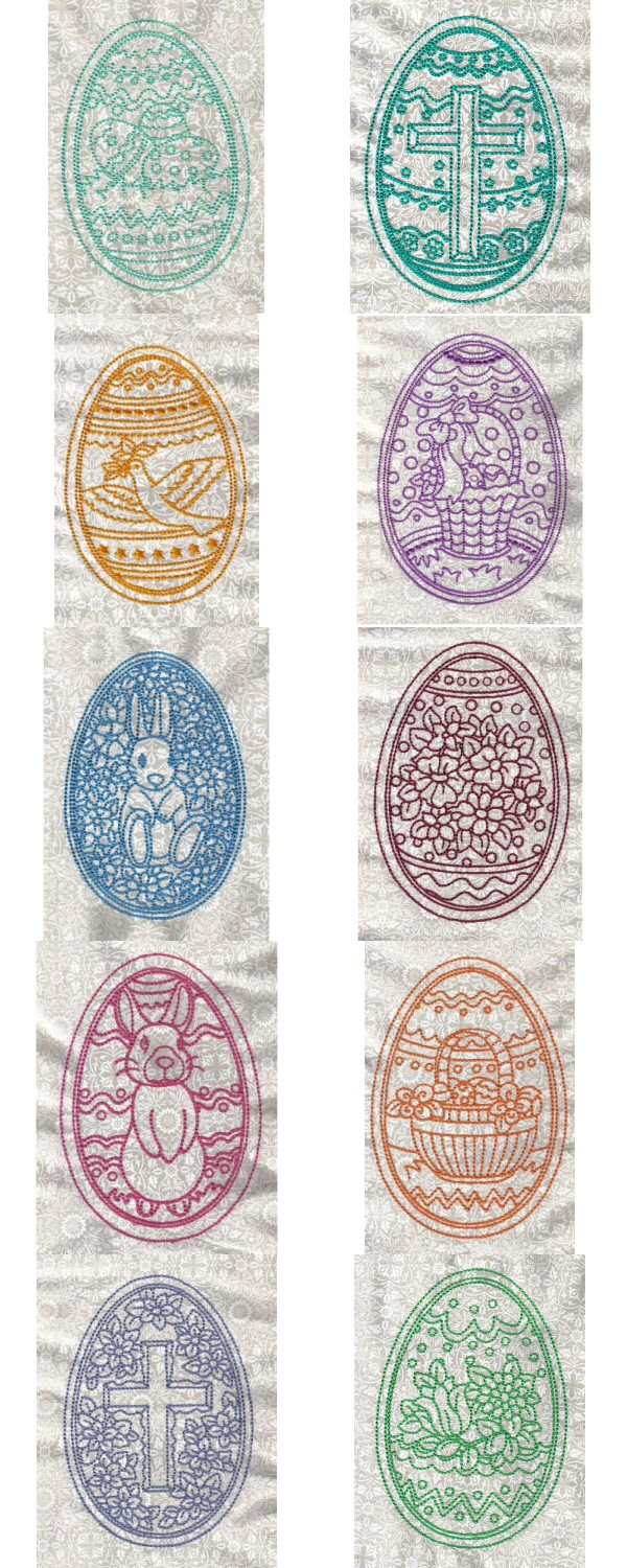 Elegant Lineart Easter Eggs Embroidery Machine Design Details