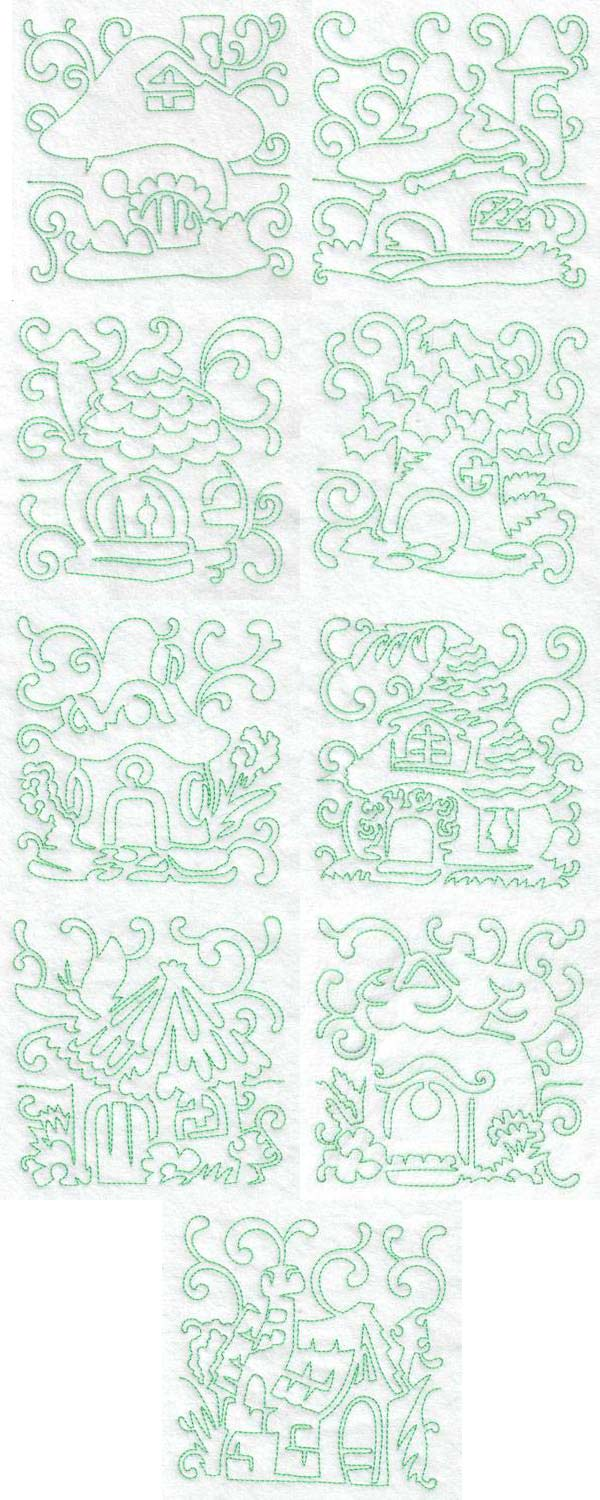 Continuous line fairy houses machine embroidery designs for Embroidery office design version 9