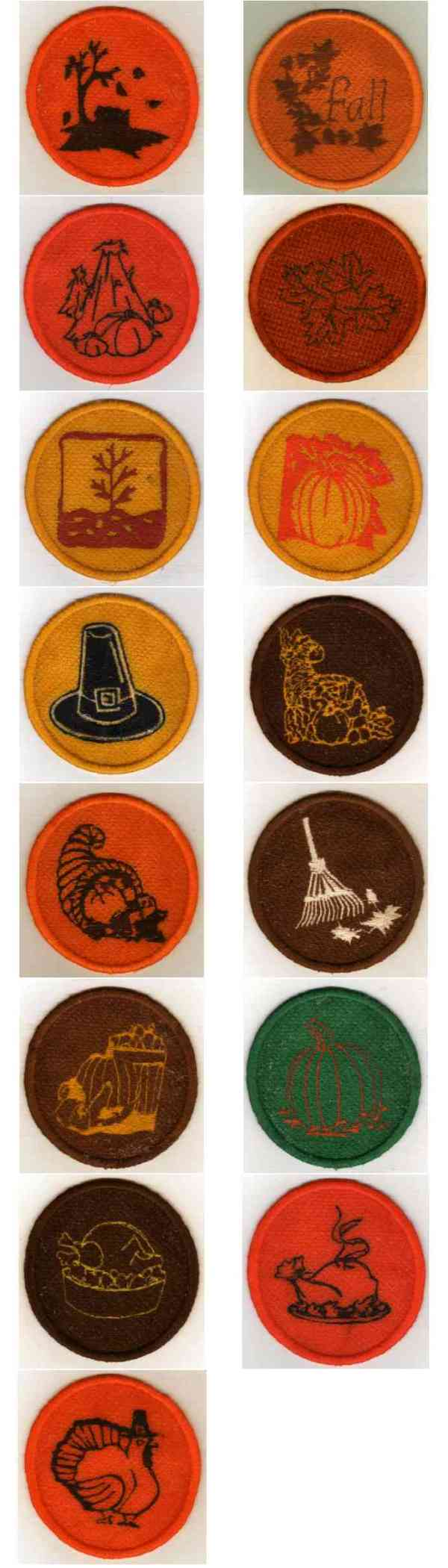 Fall Coasters Embroidery Machine Design Details