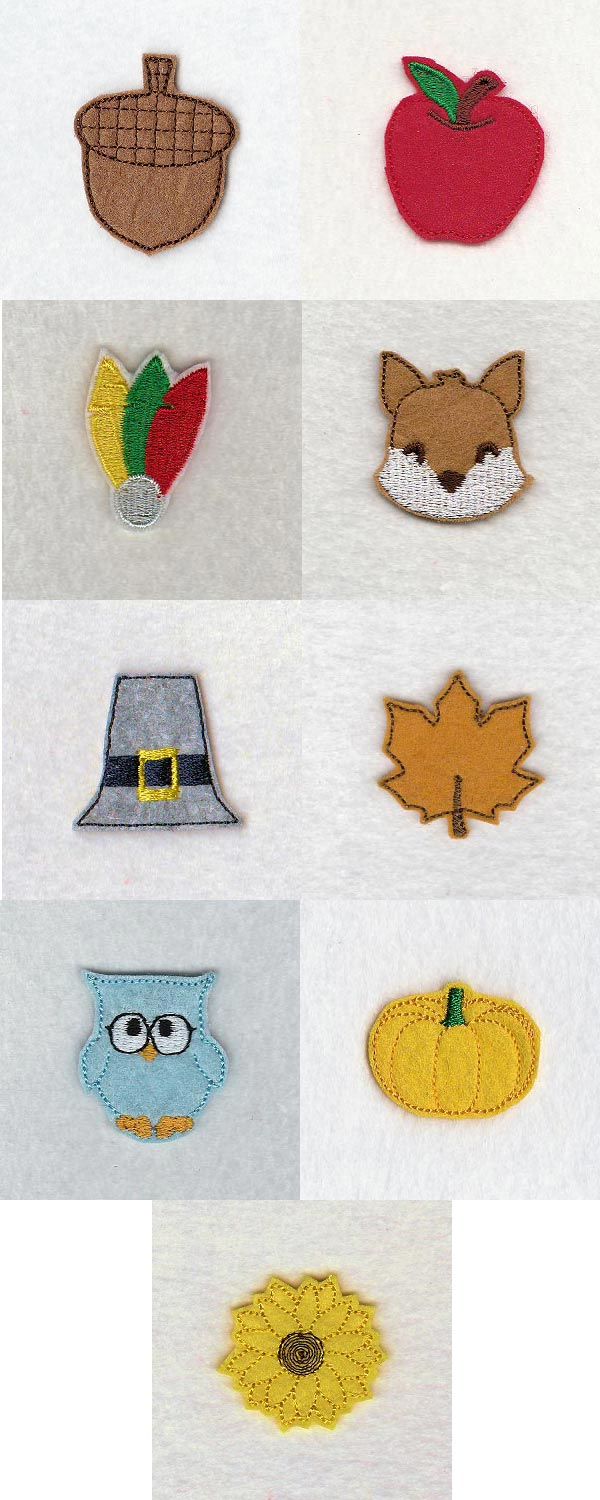 Fall Felt Minis Embroidery Machine Design Details