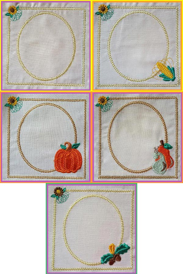 Fall Frames 1 Embroidery Machine Design Details