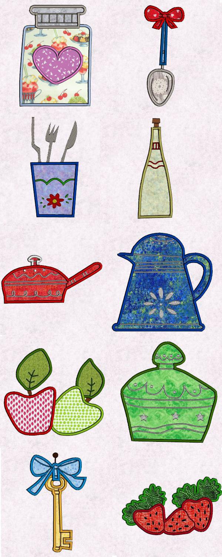 Machine Embroidery Designs Fancy Kitchen Applique Set