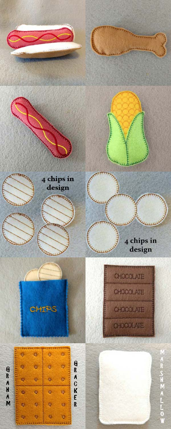 Felt Foodies Camping Embroidery Machine Design Details
